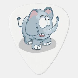 Cartoon baby elephant looking into the sky guitar pick