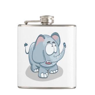 Cartoon baby elephant looking into the sky hip flask