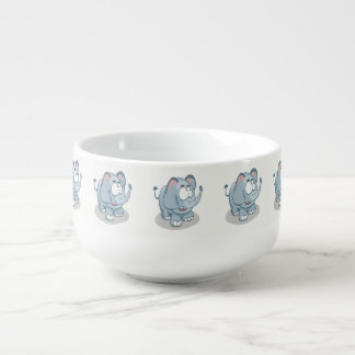 Cartoon baby elephant looking into the sky soup mug