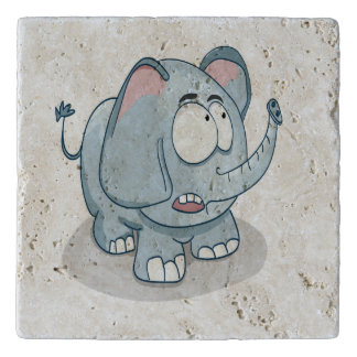 Cartoon baby elephant looking into the sky trivet