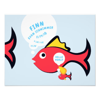 Cartoon Baby Fish Birth Announcement & Stats Photo Print