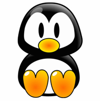 Cartoon Baby Penguin Standing Photo Sculpture