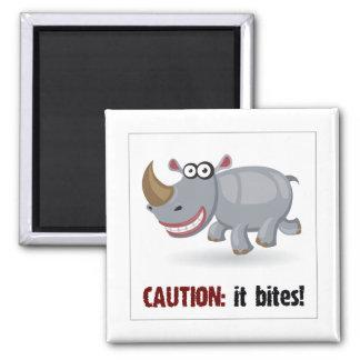 Cartoon baby Rhino bites Square Magnet