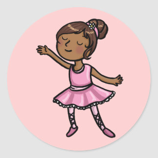 Cartoon Ballet Dancer Classic Round Sticker