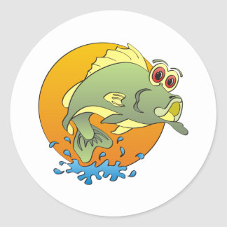 Cartoon Bass Round Sticker