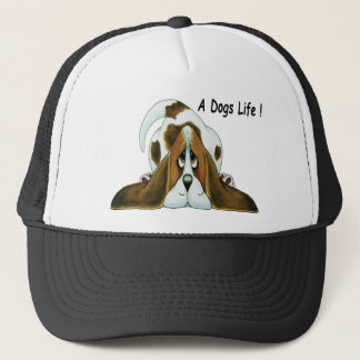 Cartoon Basset Hound, A Dog's Life Trucker Hat