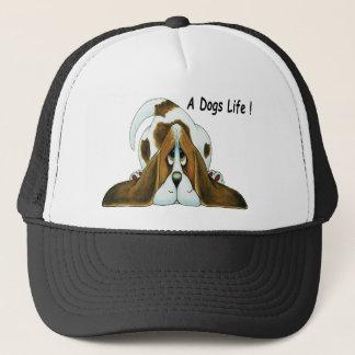 Cartoon Basset Hound, A Dog's Life Trucker Hat