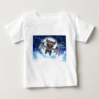 Cartoon Bat and Full Moon Halloween Scene Baby T-Shirt