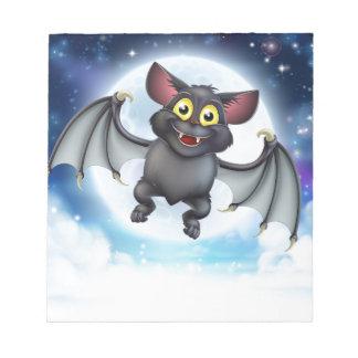 Cartoon Bat and Full Moon Halloween Scene Notepad
