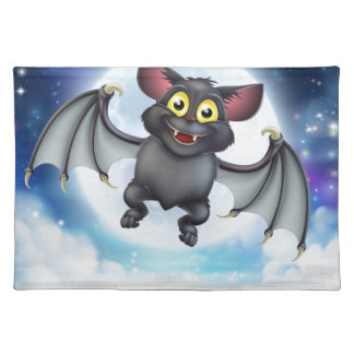 Cartoon Bat and Full Moon Halloween Scene Placemat