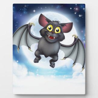 Cartoon Bat and Full Moon Halloween Scene Plaque