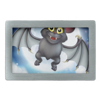 Cartoon Bat and Full Moon Halloween Scene Rectangular Belt Buckle