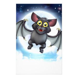 Cartoon Bat and Full Moon Halloween Scene Stationery