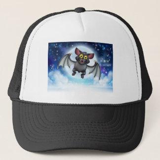 Cartoon Bat and Full Moon Halloween Scene Trucker Hat