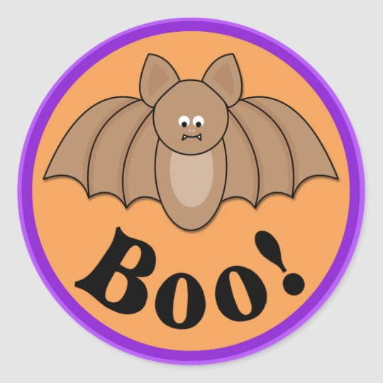 Cartoon Bat Boo Halloween Classic Round Sticker