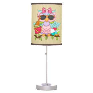 Cartoon Beach owl table lamp