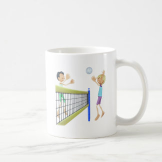 Cartoon Beach Volleyball Players Coffee Mug