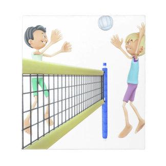 Cartoon Beach Volleyball Players Notepad