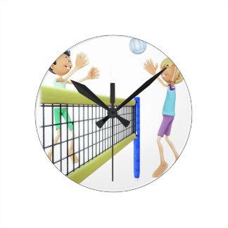 Cartoon Beach Volleyball Players Round Clock
