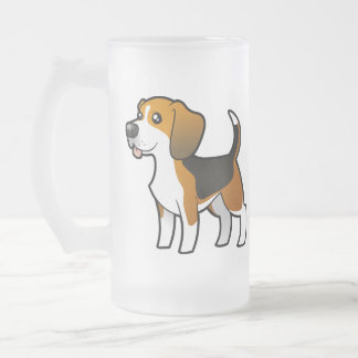 Cartoon Beagle Frosted Glass Beer Mug