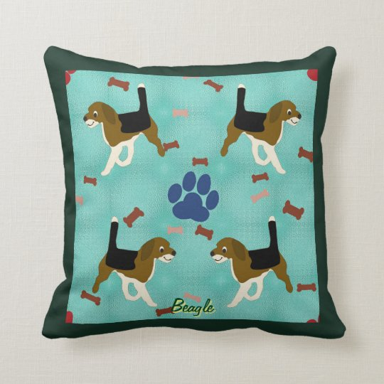 Cartoon Beagle Throw Pillow