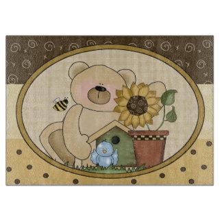 Cartoon Bear Glass Cutting Board