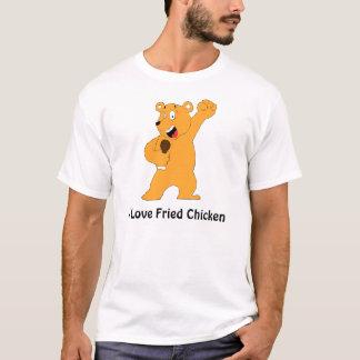 Cartoon Bear Holding Fried Chicken Drumstick T-Shirt