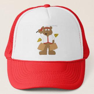 Cartoon Bear Slicing Pepperoni Pizza Trucker Hat