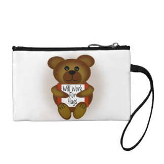Cartoon Bear Will Work For Hugs Coin Purse