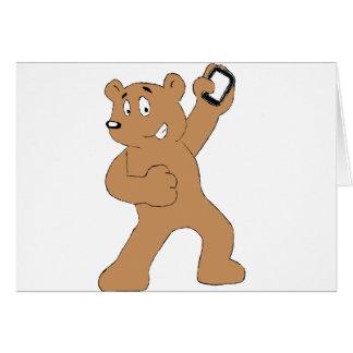 Cartoon Bear With Cell Phone Greeting Card