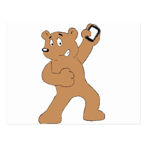 Cartoon Bear With Cell Phone Post Card