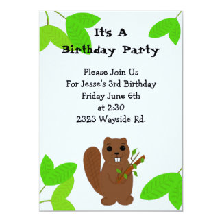 Cartoon Beaver Birthday Invitation