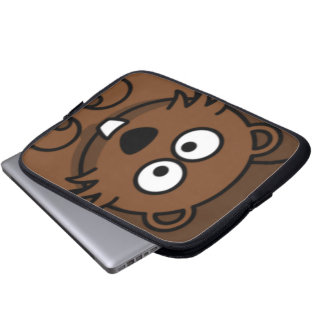 Cartoon Beaver Face Laptop Sleeve