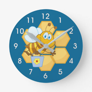 Cartoon Bee and Honey Comb Clock
