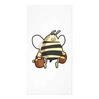 Cartoon Bee Carrying Honey Photo Greeting Card