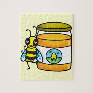 Cartoon bee leaning on honey jar puzzles