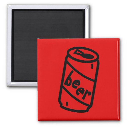 Cartoon Beer Can - Any Team Colors Refrigerator Magnet