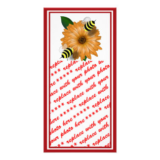 Cartoon Bees Get Together Personalized Photo Card