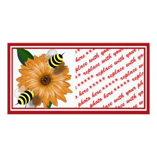Cartoon Bees Get Together Photo Card Template