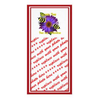 Cartoon  Bees Meeting on Purple Flower Valentine Photo Cards