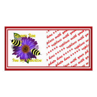 Cartoon  Bees Meeting on Purple Flower Valentine Customized Photo Card