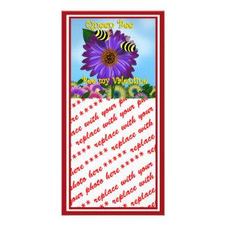 Cartoon Bees Meeting on Purple Flower Valentine Customized Photo Card