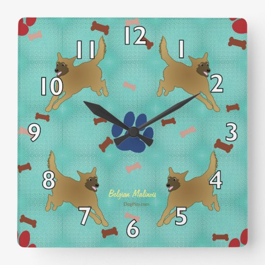 Cartoon Belgian Malinois Square Wall Clock