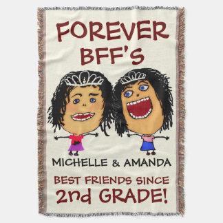 Cartoon Best Friend BFFs Throw Blanket
