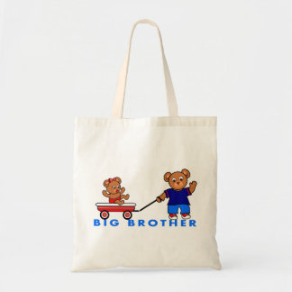 Cartoon Big Brother Little Sister Bear Tote Bag
