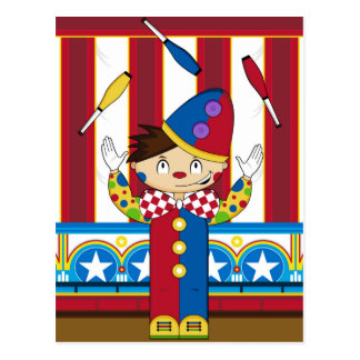 Cartoon Bigtop Juggling Circus Clown Postcard