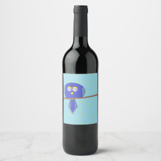cartoon bird wine label