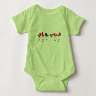 Cartoon Birds Spring Green Cute Colorful Bright Baby Bodysuit