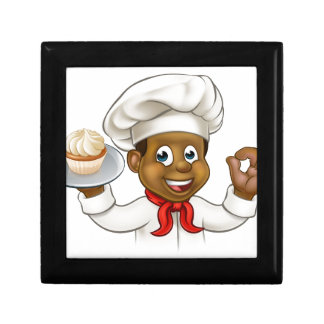 Cartoon Black Baker or Pastry Chef Gift Box