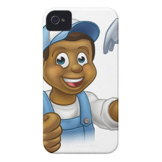Cartoon Black Carpenter Character iPhone 4 Cover